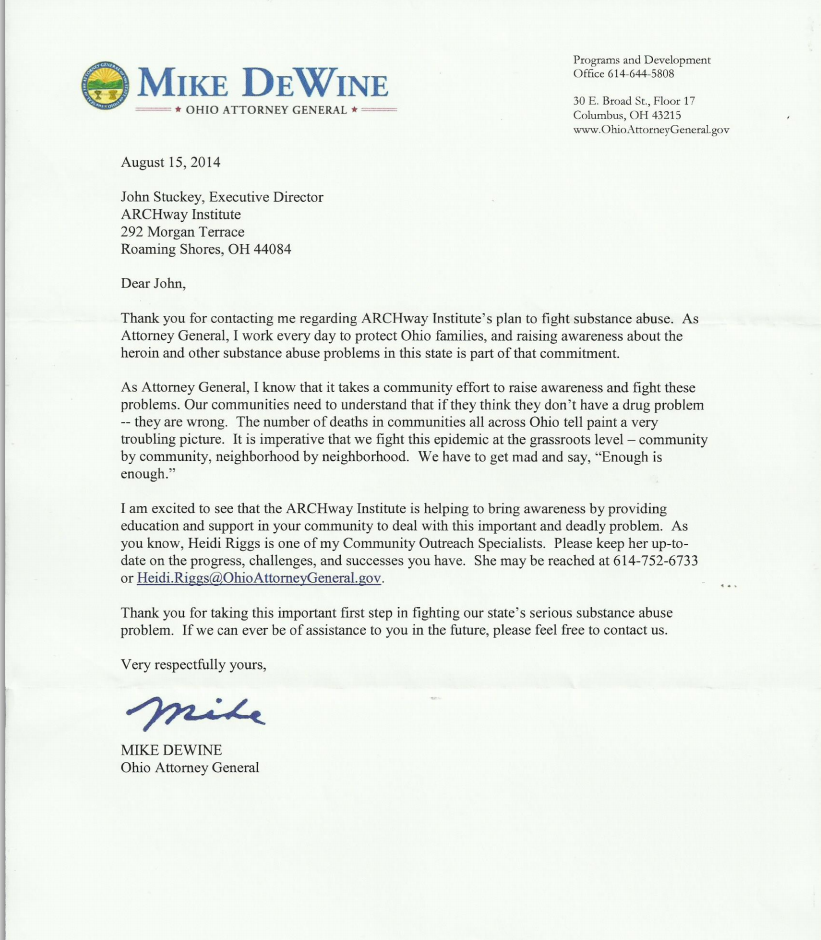 8 2014 Ohio Attorney Generals Office Letter of Support