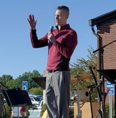Colton Baker speaks at Stomp Out Addiction Walk