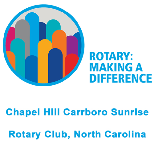 "Logo for Chapel Hill Carrboro Sunrise Rotary Club, North Carolina with the words ""Rotary: Making a Difference"""