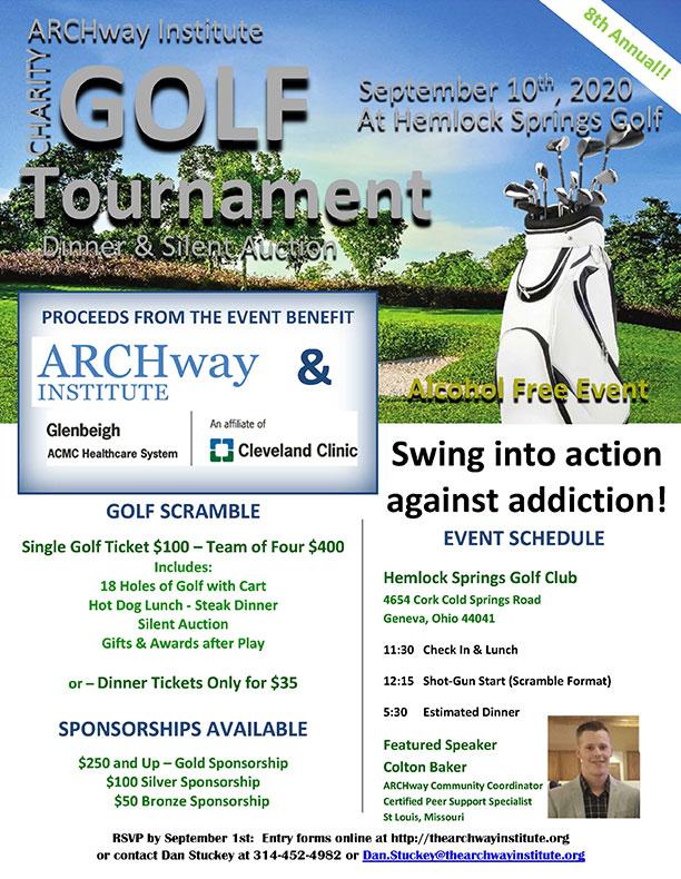 2020 ARCHway Institute Golf Tournament, Geneva Ohio, September 10, 2019