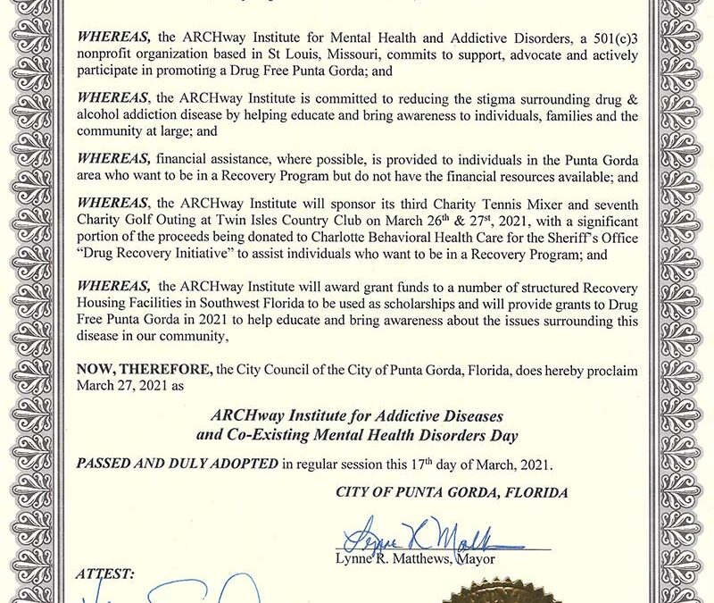 Punta Gorda City Council Proclaims March 27th, 2021 as ARCHway Day