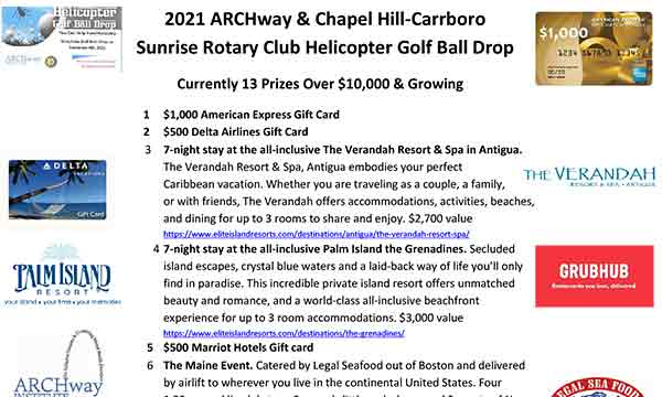 2021 ARCHway Helicopter Drop Prize List